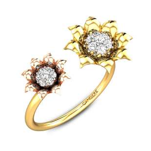 Rosy Tinted Buds Diamond Gap Ring